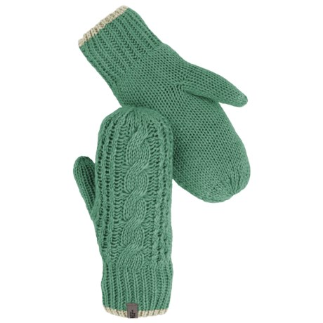 The North Face Cable-Knit Mittens (For Women) in Deep Sea/Subtle Green