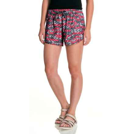 The North Face Class V Shorts - UPF 50 (For Women) in Honeysuckle Pink/Painted Ikat Print - Closeouts