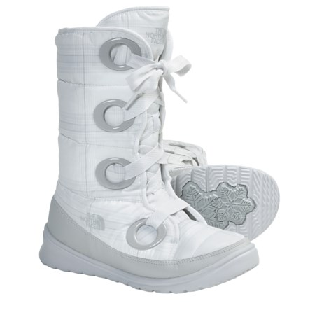 The North Face Destiny Down Snow Boots - 600 Fill Power (For Women) in White Plaid