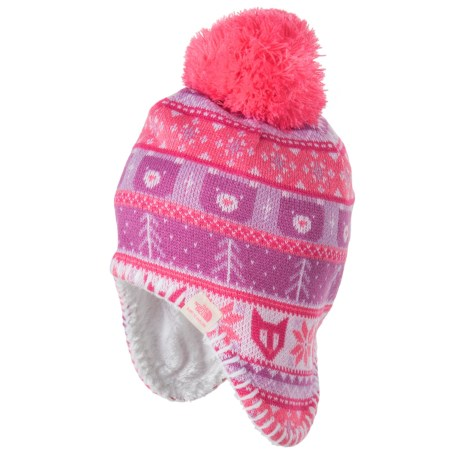 The North Face Faroe Beanie - Ear Flaps, Fully Lined (For Infants) in Cha Cha Pink/Lupine