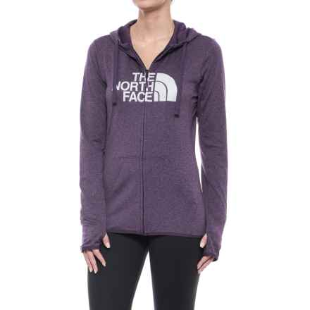 The North Face Fave Lite LFC Hoodie - Full Zip (For Women) in Dark Eggplant Purple Heather/High Rise Grey - Closeouts