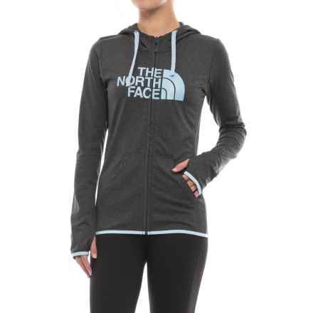 The North Face Fave Lite LFC Hoodie - Full Zip (For Women) in Tnf Dark Grey Heather/Chambray Blue - Closeouts