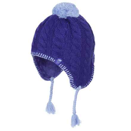 The North Face Fuzzy Ear Flap Beanie - Fully Lined (For Little and Big Girls) in Lapis Blue/Grapemist Blue - Closeouts