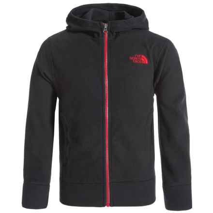 The North Face Glacier Fleece Hoodie - Full Zip (For Little and Big Boys) in Tnf Black/Tnf Red - Closeouts