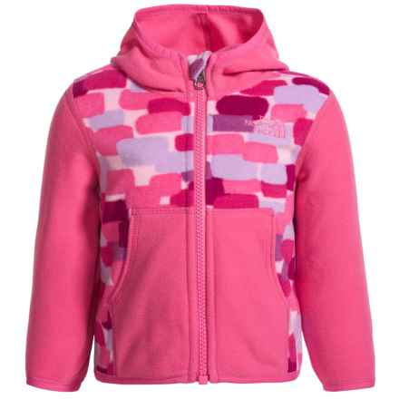 The North Face Glacier Fleece Jacket - Attached Hood (For Infants) in Cabaret Pink Block Print - Closeouts