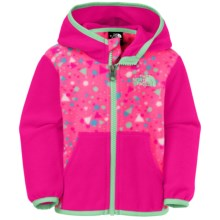 The North Face Glacier Fleece Jacket - Attached Hood (For Infants) in Gem Pink Confetti Print - Closeouts