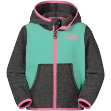 The North Face Glacier Fleece Jacket - Attached Hood (For Infants) in Surf Green - Closeouts