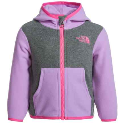 The North Face Glacier Fleece Jacket - Attached Hood (For Infants) in Tnf Medium Grey Heather - Closeouts