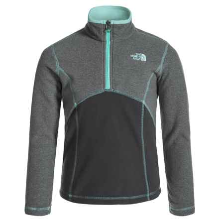 The North Face Glacier Fleece Jacket - Zip Neck (For Little and Big Girls) in Tnf Medium Grey Heather - Closeouts