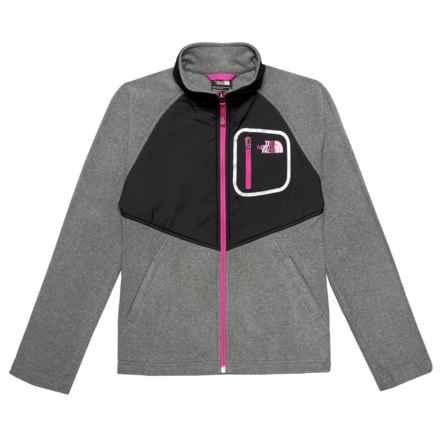 The North Face Glacier Fleece Track Jacket (For Big Girls) in Tnf Medium Grey Heather/Tnf Black - Closeouts