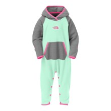The North Face Glacier One-Piece Hooded Fleece Suit (For Infants) in Surf Green - Closeouts