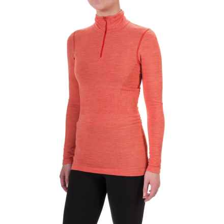 The North Face Go Seamless Shirt - Zip Neck, Long Sleeve (For Women) in High Risk Red Dark Heather - Closeouts