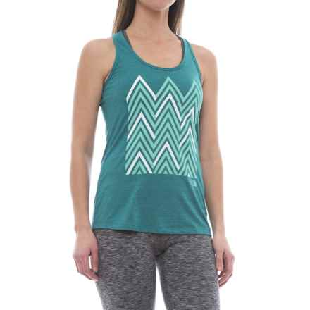 The North Face Graphic Play Hard Tank Top (For Women) in Harbor Blue Heather - Closeouts