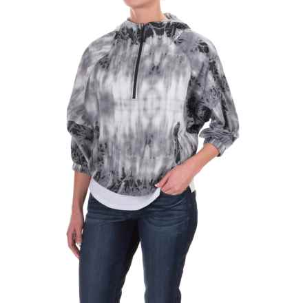 The North Face Gymset Crop Anorak Jacket - Zip Neck, 3/4 Sleeve (For Women) in Tnf Black Photo Floral Print - Closeouts