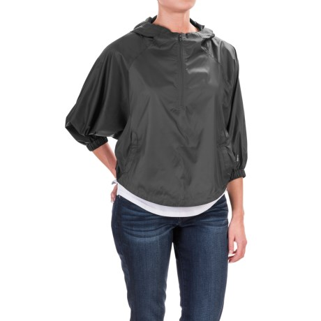 The North Face Gymset Crop Anorak Jacket - Zip Neck, 3/4 Sleeve (For Women) in Tnf Black