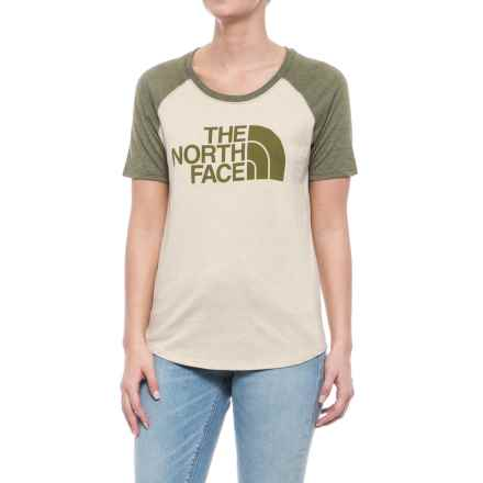 The North Face Half Dome Baseball T-Shirt - Short Sleeve (For Women) in Tnf Oatmeal Heather/Burnt Olive Green Heather - Closeouts