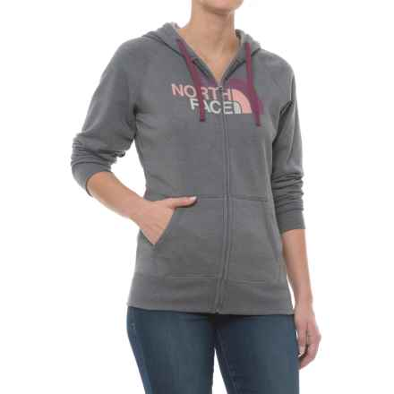 The North Face Half Dome Hoodie - Full Zip (For Women) in Tnf Medium Grey Heather/Amaranth Purple Multi - Closeouts