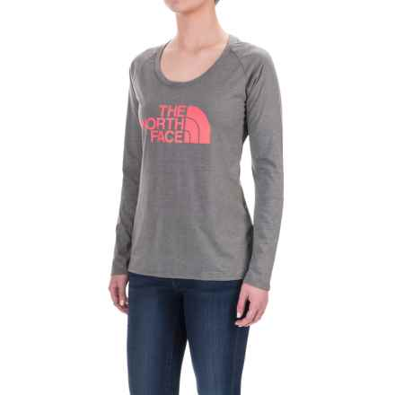 The North Face Half Dome Shirt - Long Sleeve (For Women) in Tnf Medium Grey Heather (Std)/Calypso Coral - Closeouts