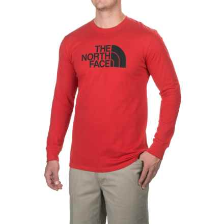The North Face Half Dome T-Shirt - Long Sleeve (For Men) in Tnf Red/Asphalt Grey - Closeouts