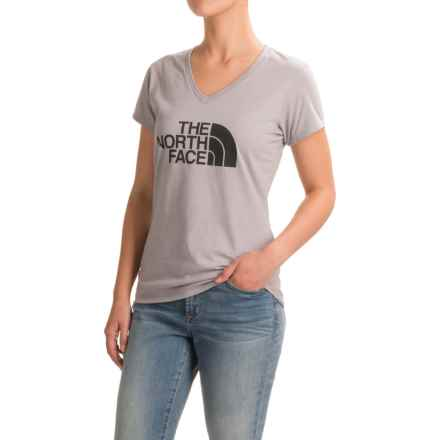 The North Face Half Dome Tri-Blend T-Shirt - V-Neck, Short Sleeve (For Women) in Tnf Light Grey Heather(Std) - Closeouts