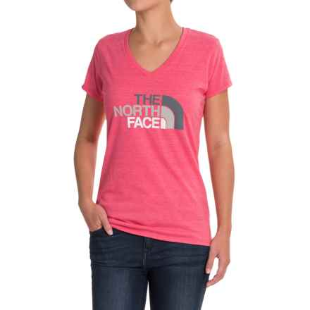 The North Face HD Tri-Blend T-Shirt - V-Neck, Short Sleeve (For Women) in Honeysuckle Pink Heather/Graphite Grey Melange - Closeouts