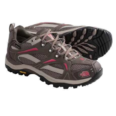 The North Face Hedgehog III Gore-Tex® XCR® Trail Shoes - Waterproof (For Women) in Classic Khaki/Chrysanthemum Red