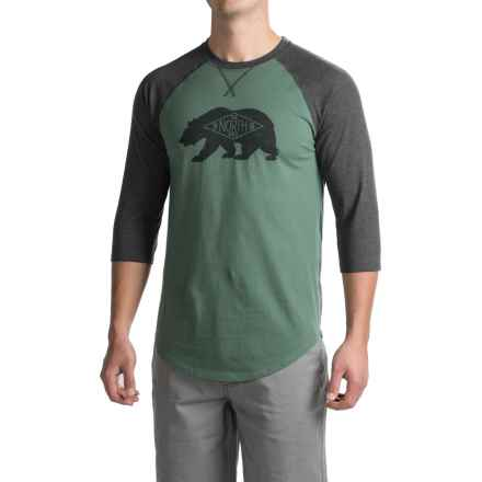 The North Face Heritage Bear Club T-Shirt - 3/4 Sleeve (For Men) in Duck Green/Tnf Dark Grey Heather - Closeouts