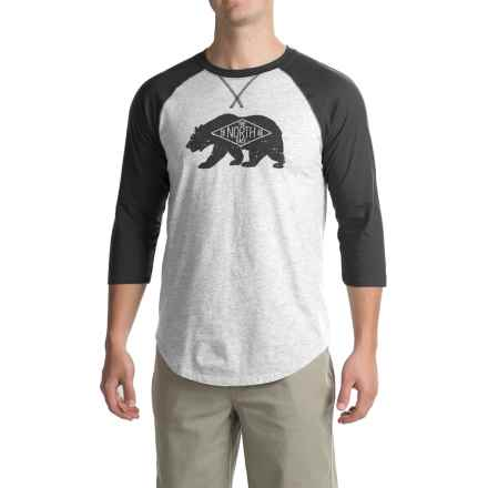 The North Face Heritage Bear Club T-Shirt - 3/4 Sleeve (For Men) in Tnf Light Grey Heather (Std)/Tnf Dark Grey Heather - Closeouts