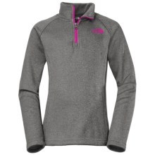 The North Face HW Agave Fleece Jacket - Zip Neck (For Little and Big Girls) in Heather Grey - Closeouts