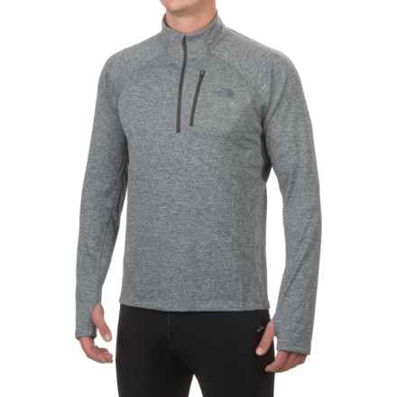 The North Face Impulse Active Shirt - Zip Neck, Long Sleeve (For Men) in Tnf Medium Grey Heather/Asphaly Grey - Closeouts