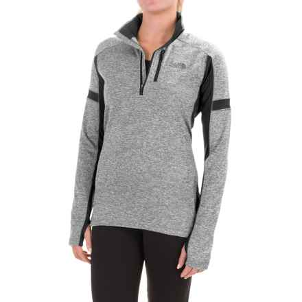 The North Face Impulse Active Shirt - Zip Neck, Long Sleeve (For Women) in Tnf Medium Grey Heather/Tnf Black - Closeouts