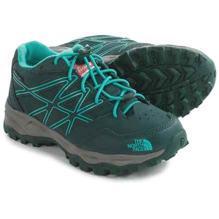 The North Face JR Hedgehog Low Hiking Shoes - Waterproof (For Little and Big Kids) in Botanical Garden Green/Ion Blue - Closeouts