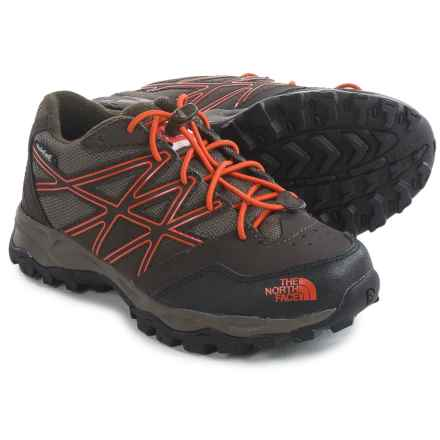 The North Face JR Hedgehog Low Hiking Shoes - Waterproof (For Little and Big Kids) in Coffee Brown/Valencia Orange - Closeouts