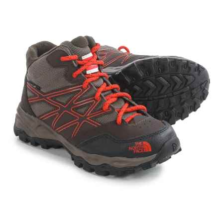 The North Face Jr. Hedgehog Mid Hiking Boots - Waterproof (For Little and Big Kids) in Coffee Brown/Valencia Orange - Closeouts