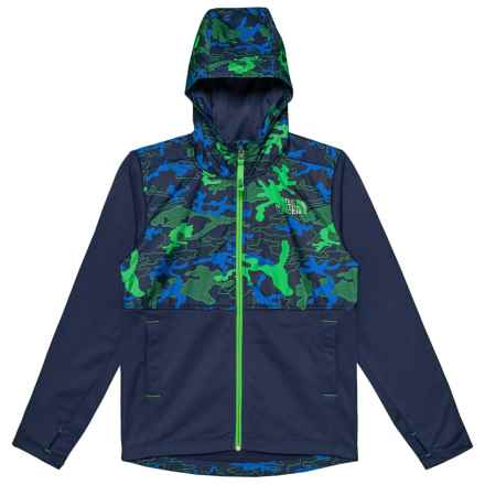 The North Face Kickin It Hoodie (For Little and Big Boys) in Cosmic Blue Griddy Woodland Camo Print - Closeouts
