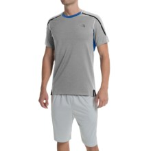 The North Face Kilowatt Crew Shirt - Short Sleeve (For Men) in Monument Grey Heather/Snorkel Blue - Closeouts