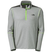 The North Face Kilowatt Pullover Shirt - Zip Neck, Long Sleeve (For Men) in Monument Grey Heather/Power Green - Closeouts