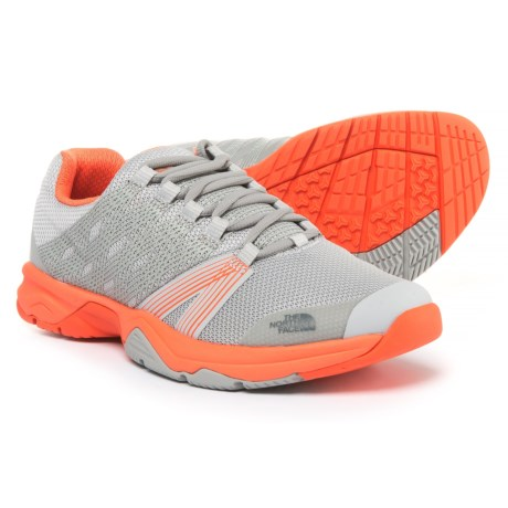 The North Face Litewave Ampere II Trail Running Shoes (For Women) in High Rise Grey/Nasturtium Orange