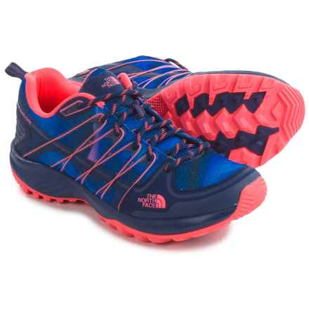 The North Face Litewave Explore Hiking Shoes (For Women) in Patriot Blue Print/Tropical Coral - Closeouts