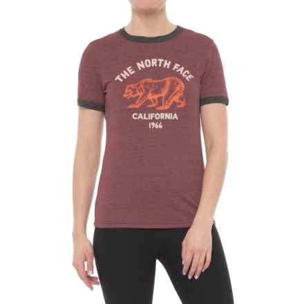The North Face Mascot Ringer T-Shirt - Short Sleeve (For Women) in Barolo Red Heather - Closeouts
