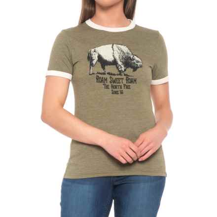 The North Face Mascot Ringer T-Shirt - Short Sleeve (For Women) in Burnt Olive Green Heather - Closeouts