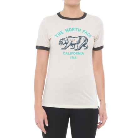 The North Face Mascot Ringer T-Shirt - Short Sleeve (For Women) in Vintage White Heather/Tnf Dark Grey Heather - Closeouts
