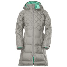 The North Face Metropolis Long Down Jacket - 550 Fill Power, Hooded (For Little and Big Girls) in Metallic Silver - Closeouts