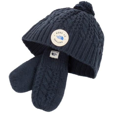 The North Face Minna Knit Beanie and Mittens Set (For Infants) in Cosmic Blue