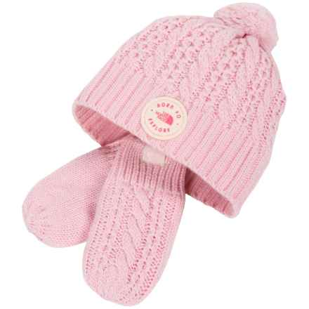 The North Face Minna Knit Beanie and Mittens Set (For Infants) in Coy Pink - Closeouts