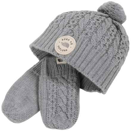 The North Face Minna Knit Beanie and Mittens Set (For Infants) in Tnf Light Grey Heather - Closeouts