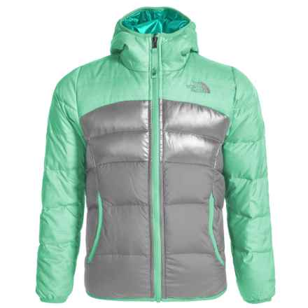 The North Face Moondoggy Down Jacket - Reversible, 550 Fill Power (For Little and Big Girls) in Ice Green Heather - Closeouts