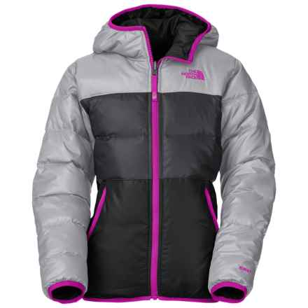 The North Face Moondoggy Down Jacket - Reversible, 550 Fill Power (For Little and Big Girls) in Metallic Silver - Closeouts