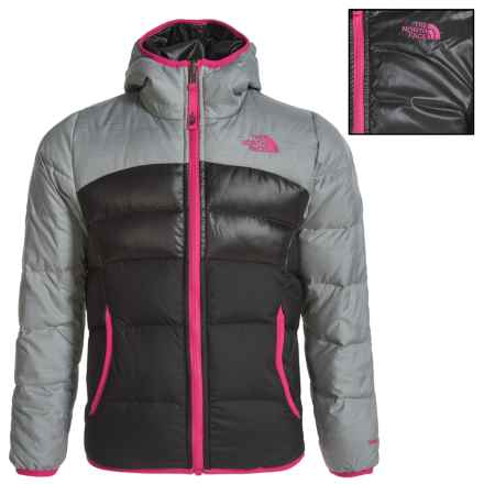 The North Face Moondoggy Down Jacket - Reversible, 550 Fill Power (For Little and Big Girls) in Metallic Sliver Heather - Closeouts