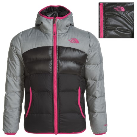 The North Face Moondoggy Down Jacket - Reversible, 550 Fill Power (For Little and Big Girls) in Metallic Sliver Heather